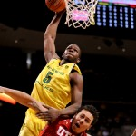 Olu Ashaolu got the crowd excited with a thunderous dunk over a Utah defender during the second half of Oregon's 94-48 victory. The senior finished the game with 12 points and 8 rebounds in his last game at Matthew Knight Arena. (Alex McDougall/Oregon Daily Emerald)